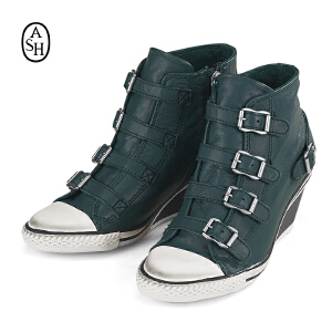 ASH艾熙 意大利品牌 GENIAL 高帮全真皮休闲坡跟增高女鞋87461