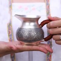 红兔子 999个人银壶茶具手工祥龙纳珠公道杯功夫茶具配件银茶具足银配件过滤茶海分茶器带茶漏套装