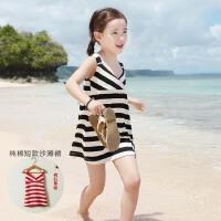 2015韩国版夏装新款母女装沙滩裙女童条纹连衣裙中大儿童吊带裙子