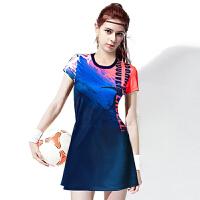 羽毛球服连衣裙短袖男女套装修身透气速干弹力面料比赛服队服