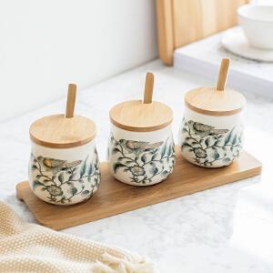 奇居良品 欧式厨房摆件 冰裂纹陶瓷贴花系列盐罐糖罐调料罐