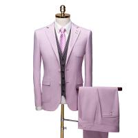精品西装实体店高档西装粉色套装西服马甲套装833 三件套qt2005