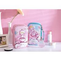 博纳屋 韩版女士包中包化妆品收纳包大容量洗漱包花仙子化妆包可爱大号皮革收纳包蓝色