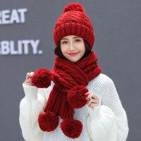 可爱学生加绒保暖针织帽 韩版女士纯色毛线帽子 新款围巾一体帽户外护耳帽