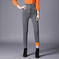 牛仔裤 女士修身加厚牛仔裤2020冬季韩版女式高腰加绒铅笔裤学生时尚休闲裤裤子