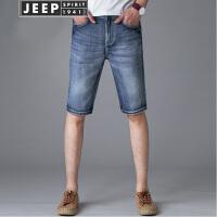 JEEP吉普牛仔裤男士时尚短裤男夏装新品青年休闲弹力牛仔五分裤运动户外男装运动短裤