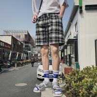 男装 夏季韩版格子拼色铁环装饰休闲五分裤青少年系带沙滩裤