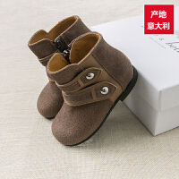davebella戴维贝拉 女童秋冬女童靴子 牛皮革真皮手工制造靴子