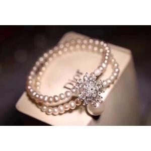 天然约5毫米淡水珍珠双圈手链925银雪花吊坠