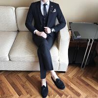 西装男士韩版修身西服套装三件套纯色大码西装男西装新郎结婚礼服