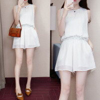 小香风短裤套装女夏季时尚新款韩版洋气显瘦气质雪纺两件套潮 白色