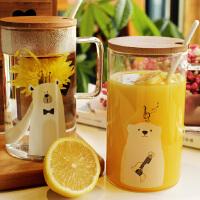 创意熊玻璃杯 大容量马克杯子情侣杯 家用牛奶早餐杯办公室茶水杯