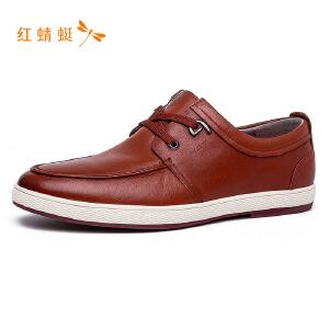 【专柜正品】红蜻蜓低帮系带百搭纯色时尚男单鞋