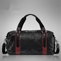 男士包包手提包旅行包春夏新款时尚欧美气质风范男包潮包简约撞色大容量单肩斜挎包 黑色