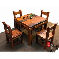 老船木茶桌小型阳台茶几茶台桌仿古中式泡茶台船木茶桌椅组合家具 整装