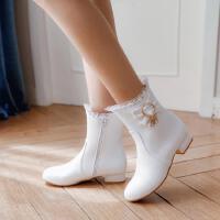 蕾丝甜美短靴短筒女鞋学生蝴蝶结大童春秋单靴冬靴低跟粗跟马丁靴