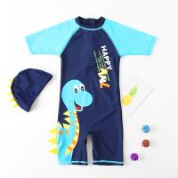 儿童泳衣连体中大童长短袖沙滩男孩宝宝泳衣