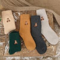 泰迪熊刺绣羊毛兔绒袜子 可爱休闲秋冬加厚毛圈女中筒袜