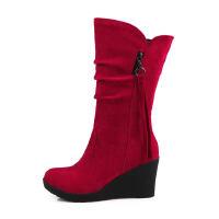 ELEISE美国艾蕾莎新品秋冬180-166韩版磨砂绒面坡跟女士短靴
