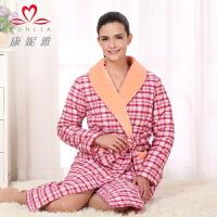 康妮雅冬季新款家居服 女士夹棉长袖格子休闲浴袍睡袍