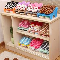 单层简易鞋架 居家方形塑料鞋子收纳架 收纳鞋架 节省空间 粉红色