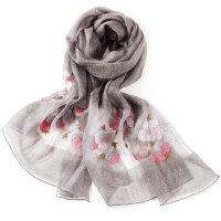 两用薄款百瑞欧真丝丝巾防晒羊毛围巾丝巾女羊毛披肩围巾