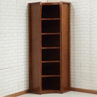 实木书柜书架组合带门实木转角玻璃储物柜展示柜现代中式书橱 单个转角柜 1-1.2米宽