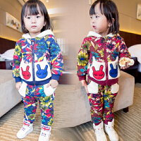 *童装女童加绒加厚卫衣套装2018春冬装新款休闲宝宝衣服