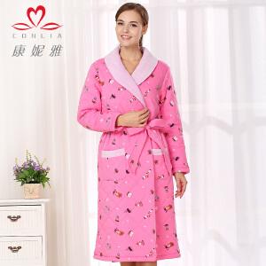 康妮雅冬季新品家居服 妩媚柔美女装 长款加厚夹棉印花浴袍睡袍