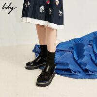 【2折到手价179.8元】全场叠加100元券 Lily春夏新款女装时尚撞色一字带黑色牛皮厚底凉鞋118210JZ807