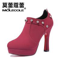 2017秋冬新款短靴女时尚女靴粗跟防水台女士靴子 73315