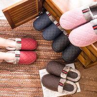 韩版室内家居家用防滑拖鞋 男士PU皮防水厚底情侣棉拖鞋 女士包跟棉拖