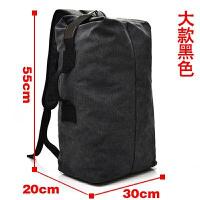 双肩包户外旅行水桶背包帆布登山运动多功能男超大容量行李包手提 大款黑色 牛仔黑