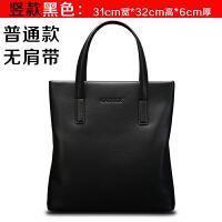 男包手提包商务包单肩斜挎包时尚男式包公文包包 竖版黑色 单包