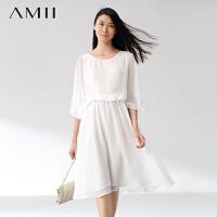 AMII[极简主义]夏新品飘逸雪纺拼接蕾丝蝴蝶袖修手臂连衣裙11470135