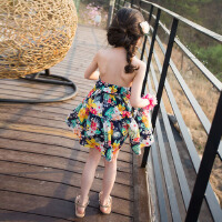 韩国童装连衣裙儿童沙滩裙海边度假女童碎花挂脖裙女大童雪纺裙