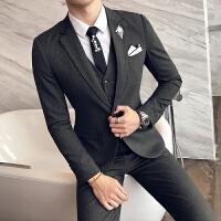 男士西服套装韩版结婚礼服三件套装西服外套英伦修身纯色西装套装