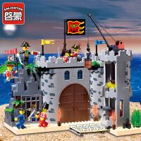 一号玩具 启蒙乐高式积木小颗粒拼装模型6岁-12岁儿童益智玩具海盗系列劫兵营310