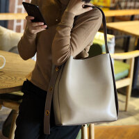 菲色如华时尚新款牛皮女包宽肩带水桶包单肩包斜挎手提包大包包女