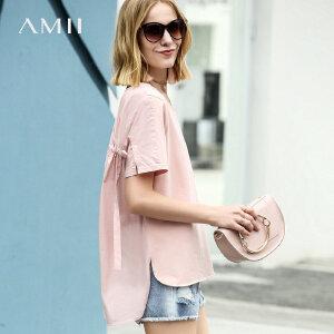<1718周年品牌庆,狂欢价100元> Amii极简ulzzang欧货潮T恤女2018新夏宽松前短后长纯色短袖上衣