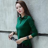 春季新款修身纯色纯棉POLO领女装韩板T恤衫