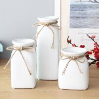 家居装饰品摆件时尚简约白色麻绳陶瓷花瓶花器日式客厅干花插花