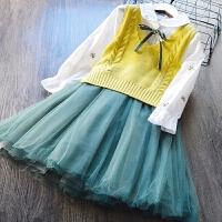 韩版童装女童衬衫裙+针织马甲两件套2018春季新款连衣裙背心套装