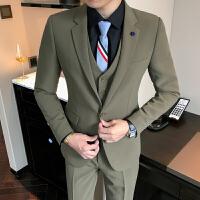 2018男士纯色西装套装韩版修身长袖西服商务休闲婚礼服正装工作服