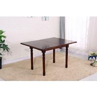 美式乡村实木折叠餐桌椅组合伸缩餐桌欧式家用长形方饭桌小户型