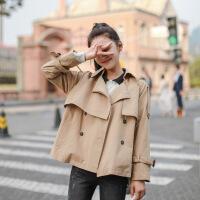 风衣 女士宽松不规则双排扣短款风衣2020秋季新款英伦风时尚女式休闲洋气开衫女装外套