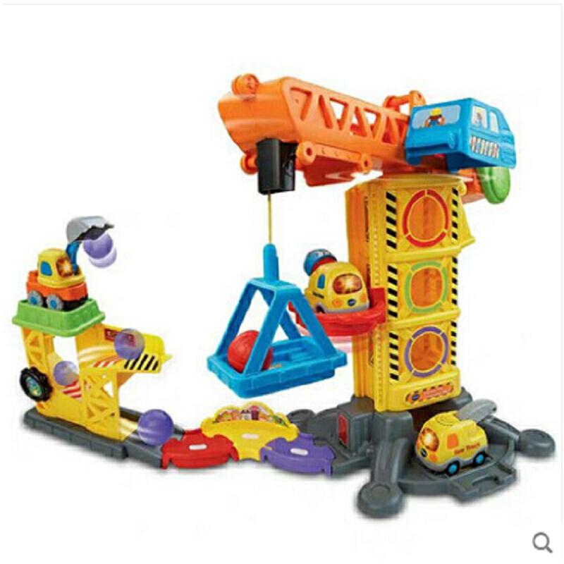 VTech伟易达神奇轨道车趣味吊塔玩具 吊塔起重机工程建筑儿童玩具 趣味游戏场景 声光挖掘机 智能感应说话