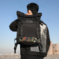 i卷盖双肩背包男民族风休闲书包旅行包双肩电脑包 黑色