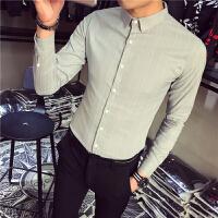 条纹衬衫男长袖修身 韩版 潮流青少年衣服发型师休闲衬衣帅气上衣
