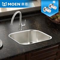 MOEN摩恩304不锈钢水槽单槽厨房水槽套餐加厚洗碗水洗菜盆21002R